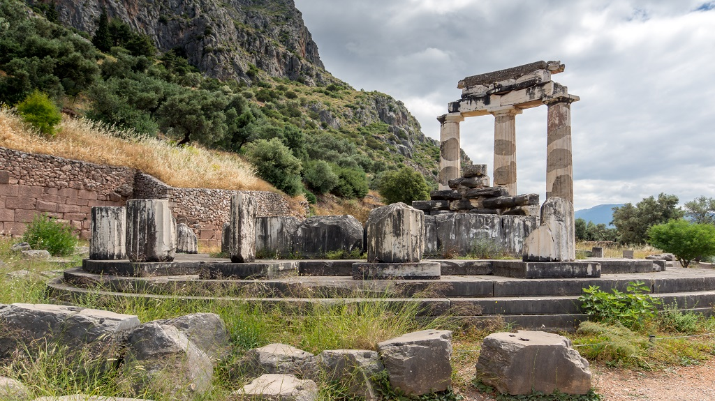 Amazing view of Ruins and Athena Pronaia Sanctuary at Ancient Greek archaeological site of Delphi, Greece