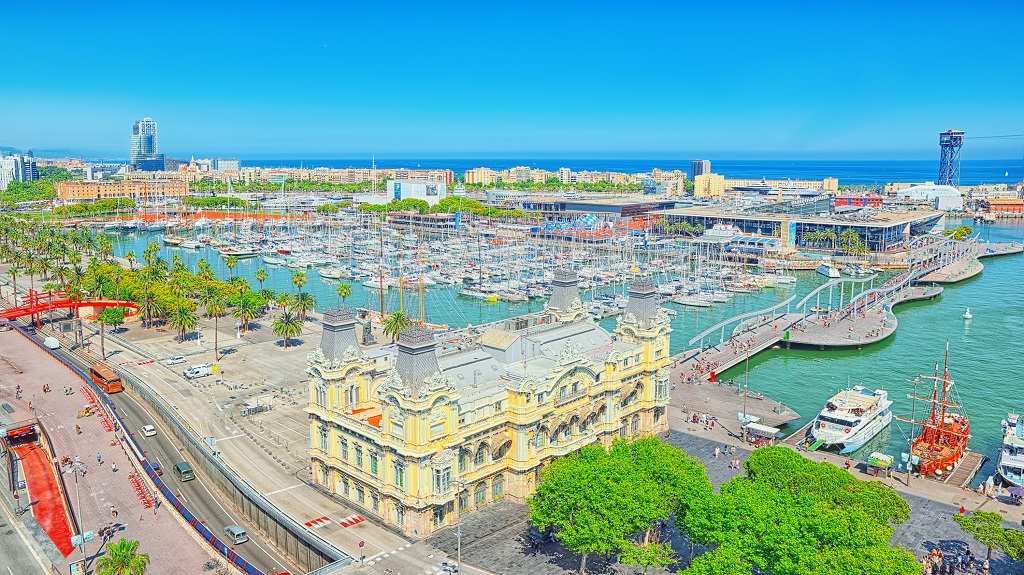 Panorama from the monument to Christopher Columbus on the Barcelona Sea Port. Catalonia. Spain.