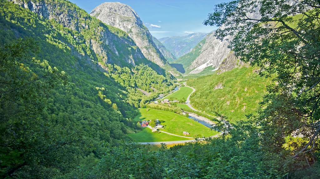 Norwegian landscapes on the Stalheimskleiva Road during a bus ride