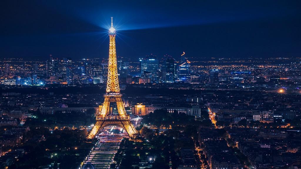 beautiful night view of illuminated Eiffel Tower in city Paris