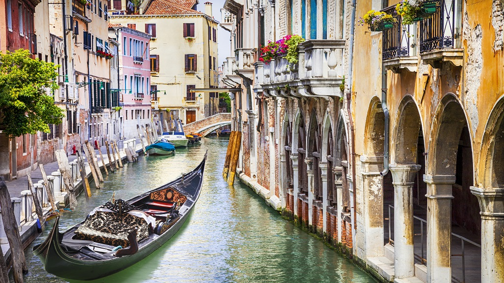 Gondola in colorful Venice, Italy