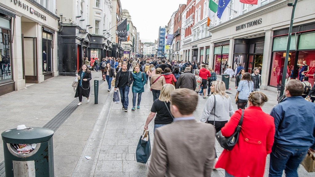 Crowd on Grafton Street in Dublin during day of autumn