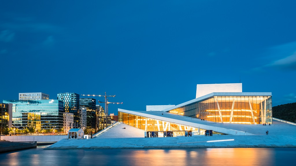 Exterior of White Building of The Oslo Opera House, Norway