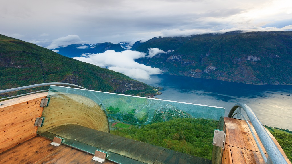 Fjord landscape at Stegastein viewpoint Norway