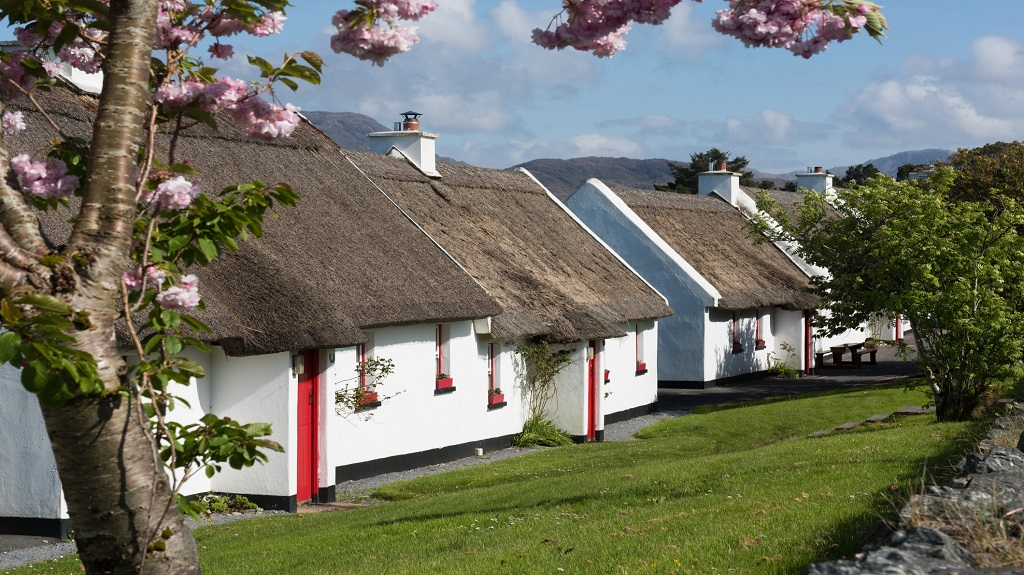 Traditional cottages with thatched roof in Galway, Ireland